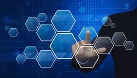 Businessman hand pushing blank modern virtual technology screen Royalty Free Stock Photo