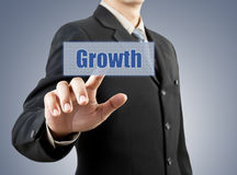 Businessman hand pushing growth button Stock Images