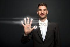 Businessman hand pushing screen Stock Image