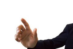 Businessman hand pushing screen on white background Royalty Free Stock Photography