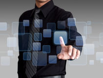 Businessman hand pushing social media and networking on a touch screen interface stock photo