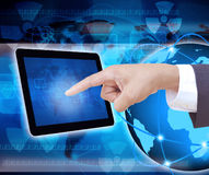 Businessman hand pushing tablet computer. Businessman hand pushing a tablet computer Stock Image