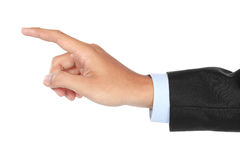 Businessman hand pushing virtual screen Stock Images