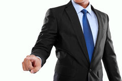 Businessman hand pushing virtual screen Stock Photography