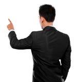 Businessman hand pushing virtual screen stock images