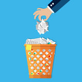 Businessman hand put paper in recycle bin. Cartoon businessman hand put paper in office trash recycle bin for garbage. Bin for papers. Vector illustration in Stock Images
