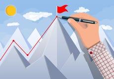 Businessman hand puts flag on peak of mountain. Businessman hand with pen draws line up. Flag on peak of mountain. Business success, target, triumph, goal Stock Photo