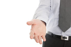 Businessman hand reaching to help or collect. Isolated on a white background stock images