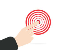 Businessman hand. right forefinger pointing to the target concept in  on white background Royalty Free Stock Photos