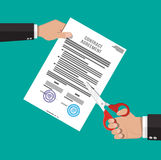 Businessman hand with scissors cutting contract Royalty Free Stock Photo