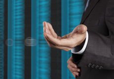 Businessman hand  and server room background Stock Photography