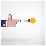 Businessman hand shooting creative light bulb concept vector illustration