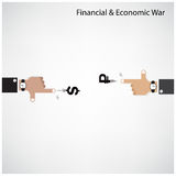 Businessman hand shooting financial or economic war concept Stock Images