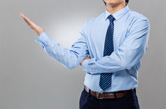 Businessman hand show with balnk sign Stock Photos