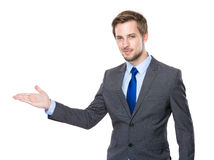 Businessman with hand show with balnk sign Royalty Free Stock Image