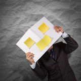 Businessman hand show blank cover book and sticky note with crum Royalty Free Stock Images