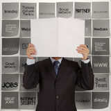 Businessman hand show book of business stragtegy Royalty Free Stock Images