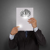 Businessman hand show book of 3d metal brain Royalty Free Stock Photography