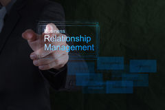 Businessman hand show business relationship management. On the new computer interface as concept Royalty Free Stock Photo