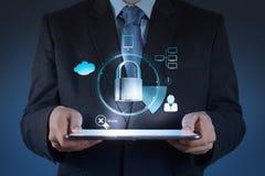 Businessman hand show 3d world  with padlock Stock Image