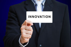 Businessman hand show innovation Stock Photography