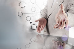 Businessman hand showing blank flow chart Stock Image