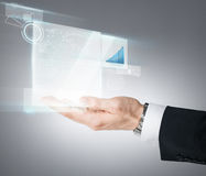 Businessman hand showing chart on virtual screen Royalty Free Stock Photo