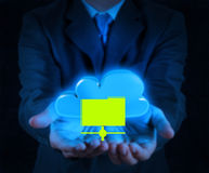 Businessman hand showing about cloud network idea Royalty Free Stock Images