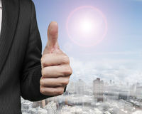 Businessman hand showing thumb up Stock Images