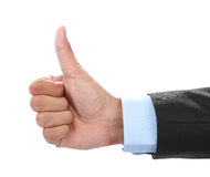 Businessman hand showing thumbs up sign Stock Images