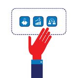 Businessman hand showing web icons Successful business concept Modern flat design Royalty Free Stock Images