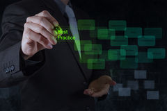 Businessman hand shows best practice word on virtual screen. Businessman hand draws best practice word on virtual screen as concept royalty free stock images