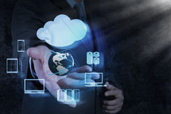 Businessman hand shows a Cloud Computing diagram Stock Photography
