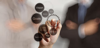 Businessman hand shows gear business success chart Stock Photography