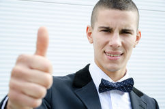 Businessman hand shows a good feeling Royalty Free Stock Photo
