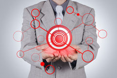 Businessman hand shows target symbol. As concept Royalty Free Stock Photos