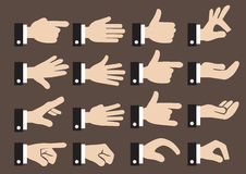 24 Businessman Hand Signs and Gestures Vector Icon Set. Isolated vector icon set of hand signs and gestures of a businessman Royalty Free Stock Images