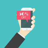 Businessman hand and smart phone icon with special offer sale re. D tag isolated symbol.Discount offer price label on smart phone.Advertising campaign symbol in Stock Images