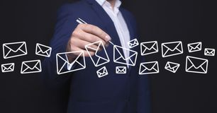 Businessman hand sms royalty free illustration