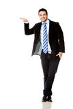 Businessman with hand on something Royalty Free Stock Photo