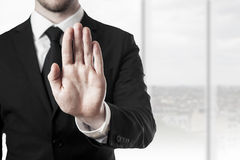 Businessman hand stop Stock Images