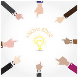Businessman hand symbol with doodle light bulb sign, knowledge c Royalty Free Stock Photo