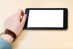 Businessman hand and tablet PC with cut out screen Stock Images