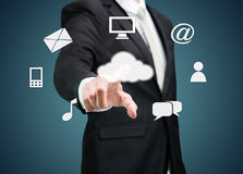 Businessman Hand Touch Cloud Computing Concept Stock Images