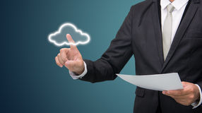 Businessman Hand Touch Cloud Computing Concept Stock Photography