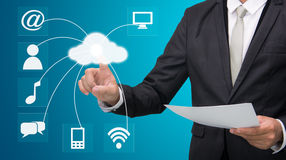 Businessman hand touch cloud computing concept Royalty Free Stock Image
