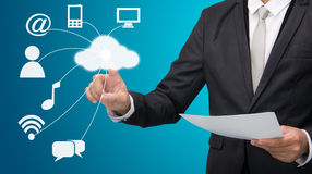 Businessman hand touch cloud computing concept Royalty Free Stock Photo