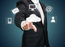 Businessman hand touch cloud computing concept Royalty Free Stock Images