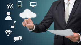 Businessman hand touch cloud computing concept Stock Photo