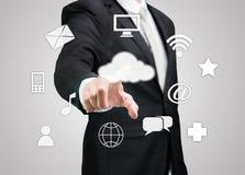 Businessman hand touch cloud computing concept Stock Photos